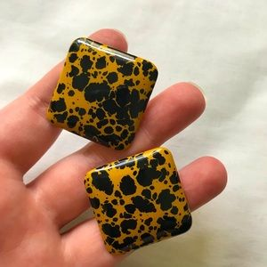 Square Earrings Mustard Black BRAND NEW